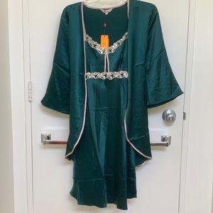NWT Wensli Silk Chemise and Robe/Jacket Set